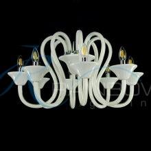 Люстра из белого стекла под свечку 3871/8 WT