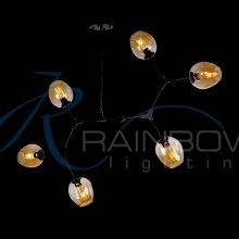 Люстра в стиле лофт молекула 3900/6 BK/AMB