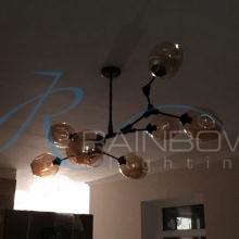 Люстра в стиле лофт молекула 3900/8 BK/AMB