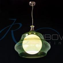 Люстра подвесная на 1 лампочку зеленая 1366/1 GN