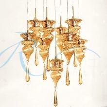 Люстра в лестничный марш на 9 медовых плафонов золото 2991/9 FG/NC
