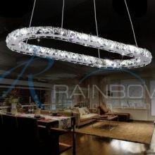 Люстра хрустальная LED с пультом овал большой 4348/750*400